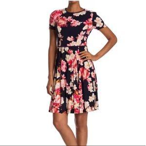 Maggy London Azalea Floral Pleated Dress